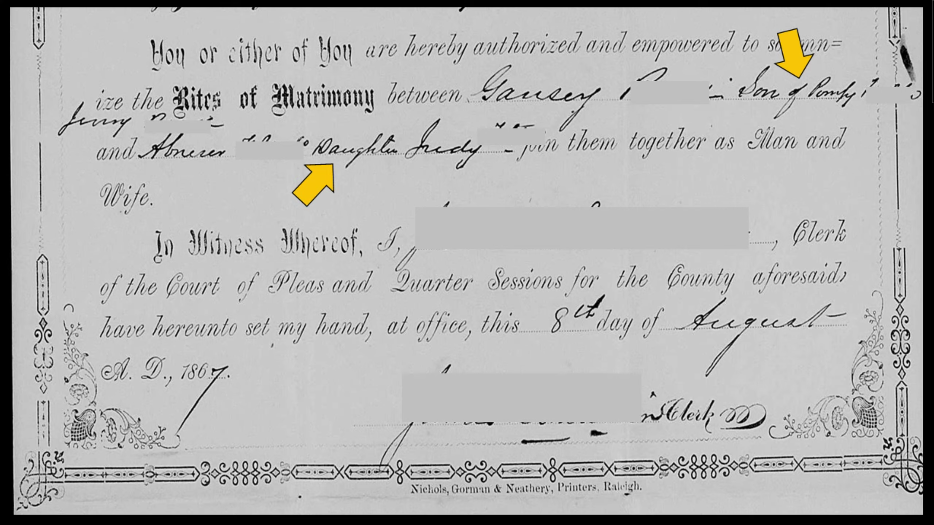 Guansey and Abby's Marriage Certificate